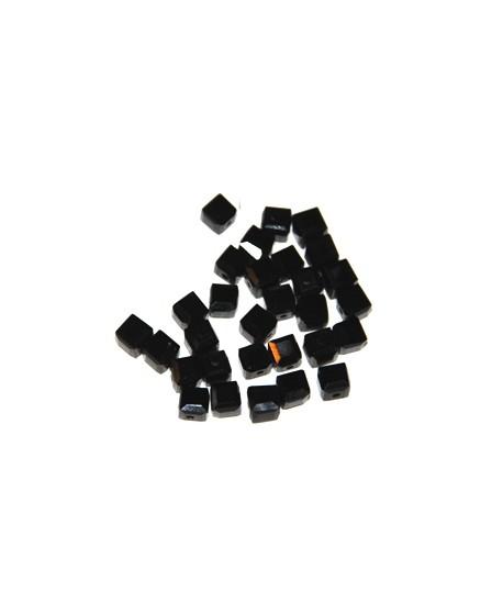 Cuenta cubo negro, 5mm, paso 1mm, precio por 30 unidades