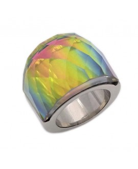 Anillo de acero inoxidable, con cristal vitrail medium