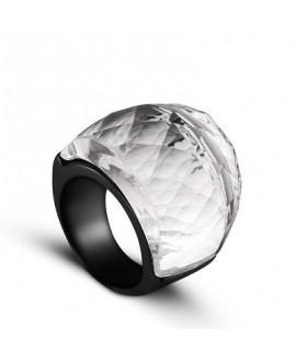 Anillo de acero inoxidable, con cristal color crystal