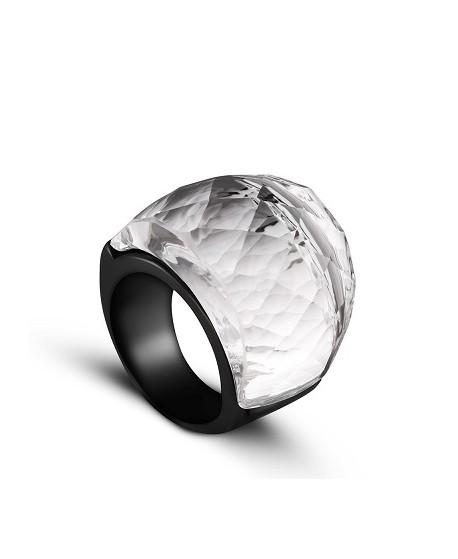 Anillo de acero inoxidable, con cristal vitrail medium