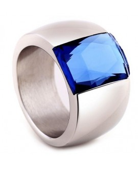 Anillo de acero inoxidable, con cristal color blue