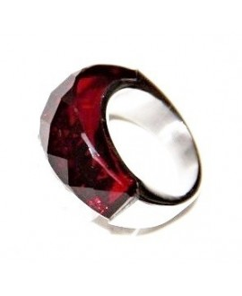 Anillo de acero inoxidable, con cristal color siam