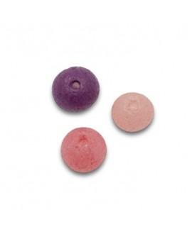 Cuenta mix vidrio 5mm paso 0,5mm de colores rosa, rosa pastel y amatista, precio por 42 unidades