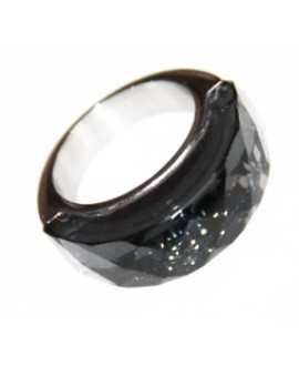 Anillo de acero inoxidable, con cristal color black diamond