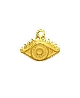 Colgante ojo 14x11mm paso 1,3mm,  zamak baño de oro