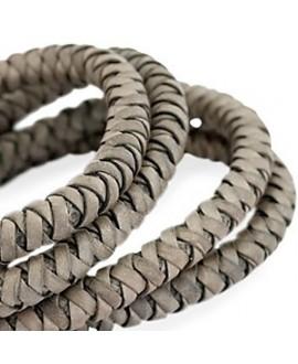 Cordón de cuero  6mm trenzado redondo, gris verdoso, calidad superior, precio por metro