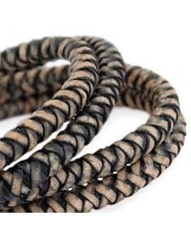 Cordón de cuero  6mm trenzado redondo, negro-acabado vintage, calidad superior, precio por metro