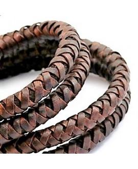 Cordón de cuero  8mm trenzado redondo, marrón medio earth-acabado vintage, calidad superior, precio por metro