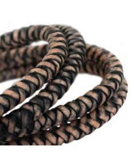 Cordón de cuero  8mm trenzado redondo, negro-acabado vintage, calidad superior, precio por metro