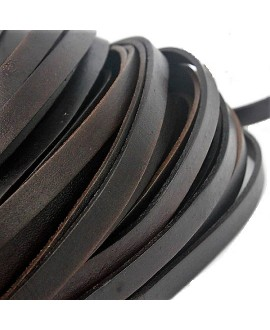 Cuero plano 8x1,5mm marrón oscuro, precio por metro