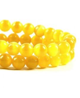 Ojo de gato amarillo 6mm, precio por ristra
