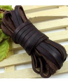Cuero plano 10mm encerado marrón, precio por metro