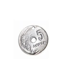 Colgante moneda 5 céntimos, 18mm, zamak baño de plata