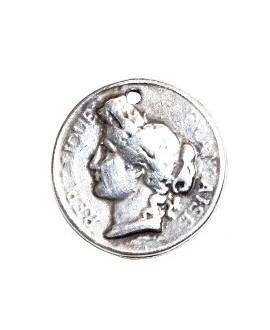 Colgante moneda 25 céntimos, zamak baño de plata