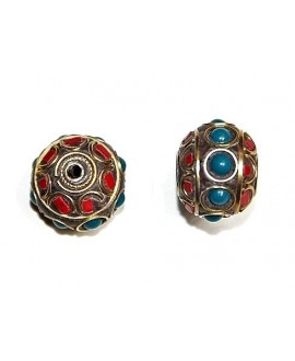 Cuenta  Tibetana bronce, coral y lapislazuli 18x20mm paso 1,5mm.
