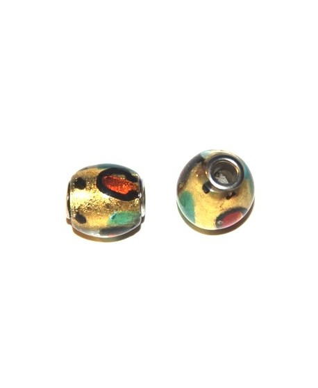 Cuenta cristal Murano dorado núcleo metal 15x16mm, paso 4mm