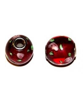 Cuenta cristal Murano rojo núcleo metal 15x16mm, paso 4mm