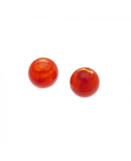Terminales cristal Murano 12mm con medio taladro de 5mm, naranja con aguas, precio por 2 unidades