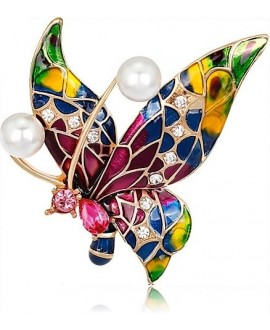 Broche mariposa 40x42mm, baño de oro