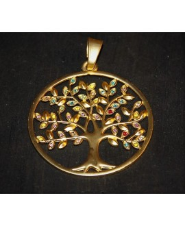 Colgante árbol de la vida 58mm con cristales, metal oro mate