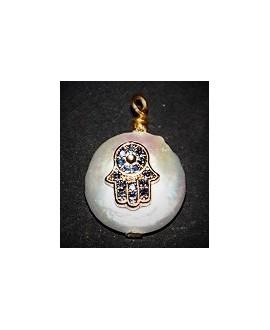 Colgante Perlas de Biwa  adornada 13mm paso 2mm