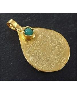 Colgante medallón 38,5x25mm, baño de oro 22 kilates