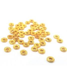 Entre-pieza  5mm paso 2mm, baño de oro 22 kilates (10 unidades)