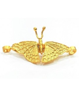 Entre-pieza  mariposa 50x24mm, baño de oro 22 kilates