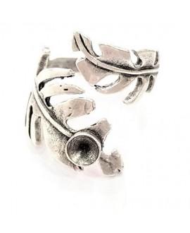 Base de anillo ajustable para cristal de 5mm, 18x9.5mm, latón baño de plata