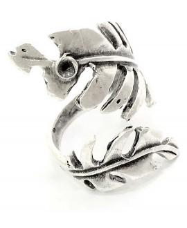 Base de anillo ajustable para cristal de 3mm, latón baño de plata