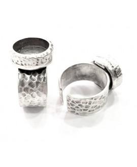 Base de anillo ajustable para cristal de 12mm, latón baño de plata