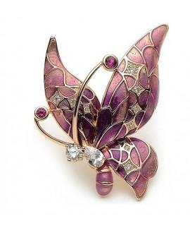 Broche mariposa 44x32mm, baño de oro