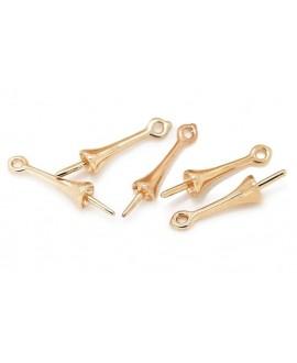 Capuchón colgante 16x3,5mm, pin 1mm, paso 1,2mm paso 1mm, baño de oro 24 kilates, unidad