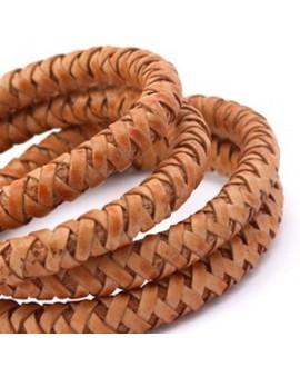 Cordón de cuero  6mm trenzado redondo, marrón cobrizo vintage, calidad superior, precio por metro