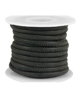 Cuero con costura 4x3mm negro satin, precio por metro