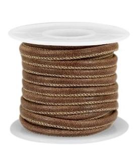 Cuero con costura 4x3mm marrón rich, precio por metro