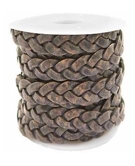 Cuero plano trenzado 5mm gris-marrón rock vintage, precio por metro