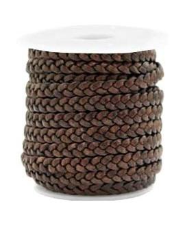 Cuero plano trenzado 5mm chocolate marrón vintage, precio por metro
