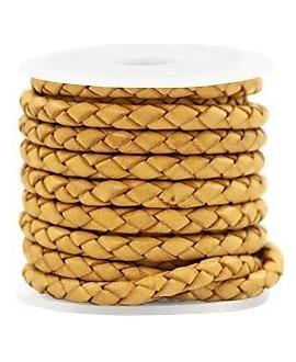 Cordón DE cuero trenzado redondo 4mm, amarillo dorado vintage, precio por metro