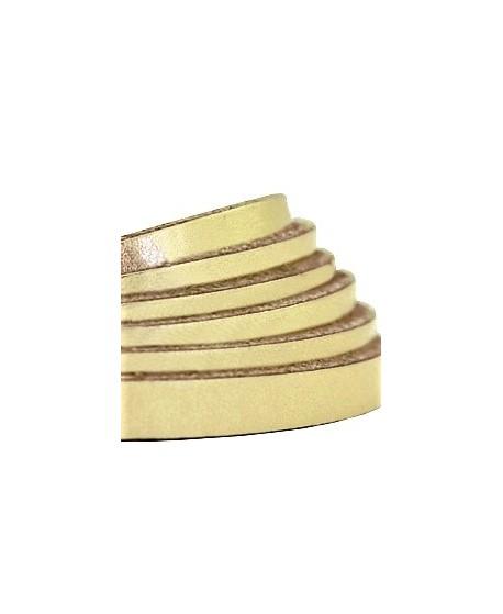 Cuero plano 5mm color metálico dorado claro, precio por metro