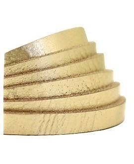 Cuero plano 5mm color metálico crunch dorado claro, precio por metro