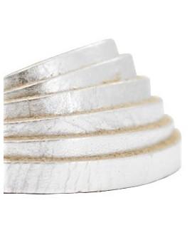 Cuero plano 5mm color metálico crunch plata, precio por metro