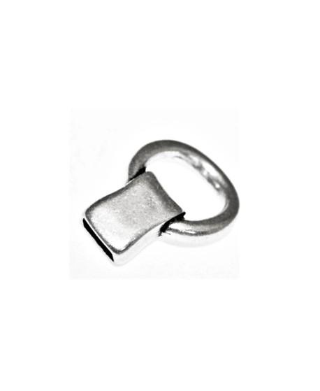 Cierre/terminal 35mm con anila paso de 10x5mm, zamak baño de plata