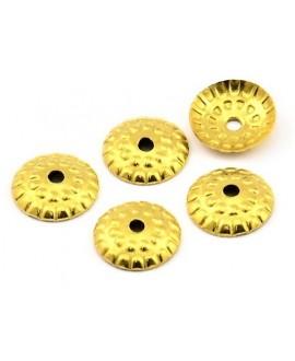 Capuchón 9mm, paso 1mm, baño de oro 24 kilates, (25 unidades)