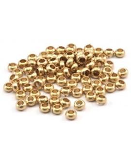 Cuenta 3,8x2mm, paso 1,5mm, baño de oro 22 kilates (10 unidades)