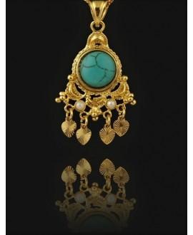 Colgante Vintage con incrustación perla y turquesa 35x23mm, paso 4mm, baño de oro 22 kilates