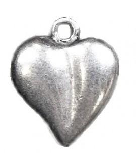 Colgante corazón 18x15mm paso 2mm, zamak baño de plata