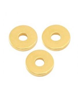 Cuenta mini rondel 6x1mm paso 1,8mm, zamak baño de oro (45 unidades)