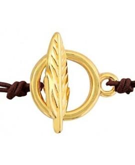 Cierre con anilla y pluma 16.4x18.3mm paso 2mm, zamak bañado en oro