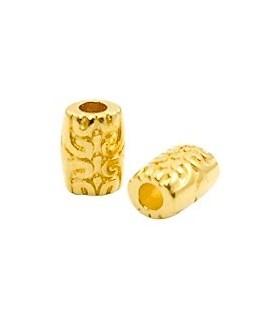 Cuentas étnicas tubo 7x6mm paso 2,3mm, baño de oro 22 kilates (unidad)